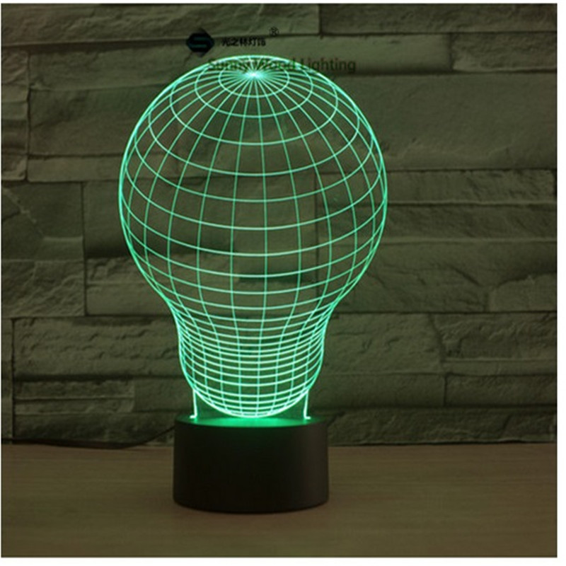 Light bulb touch switch LED 3D lamp ,Visual Illusion 7color changing 5V USB for laptop, desk decoration toy lamp