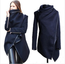 wholesale Black newly listed Autumn Spring Coat Womens Overcoat Temperament Slim Trench Design women Wool Blends