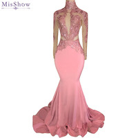 Sexy Backless High Neck Pink Mermaid Prom Dresses 2018 Applique Lace Satin Party Dresses Girls Prom Evening Dresses