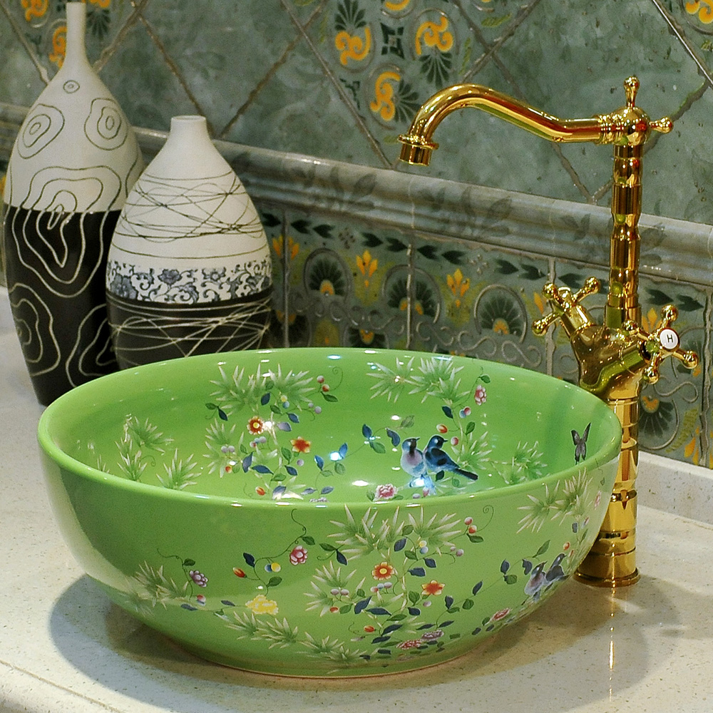 China Artistic Handmade Lavobo Round Countertop High Quality Ceramic Wash  Basin Bathroom Sinks In Bathroom Sinks From Home Improvement On  Aliexpress.com ...