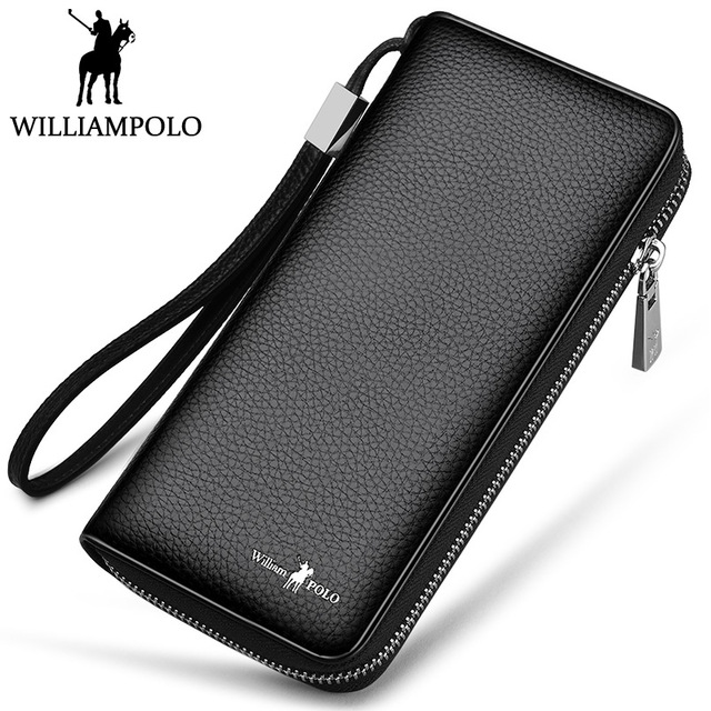 Williampolo Men Wallet Business Genuine Leather Card holder Corss Pattern Coin purse Mobile phone Clutch bag free freight python skin handmade men wallet multicard genuine leather coin purse corss pattern men wallet