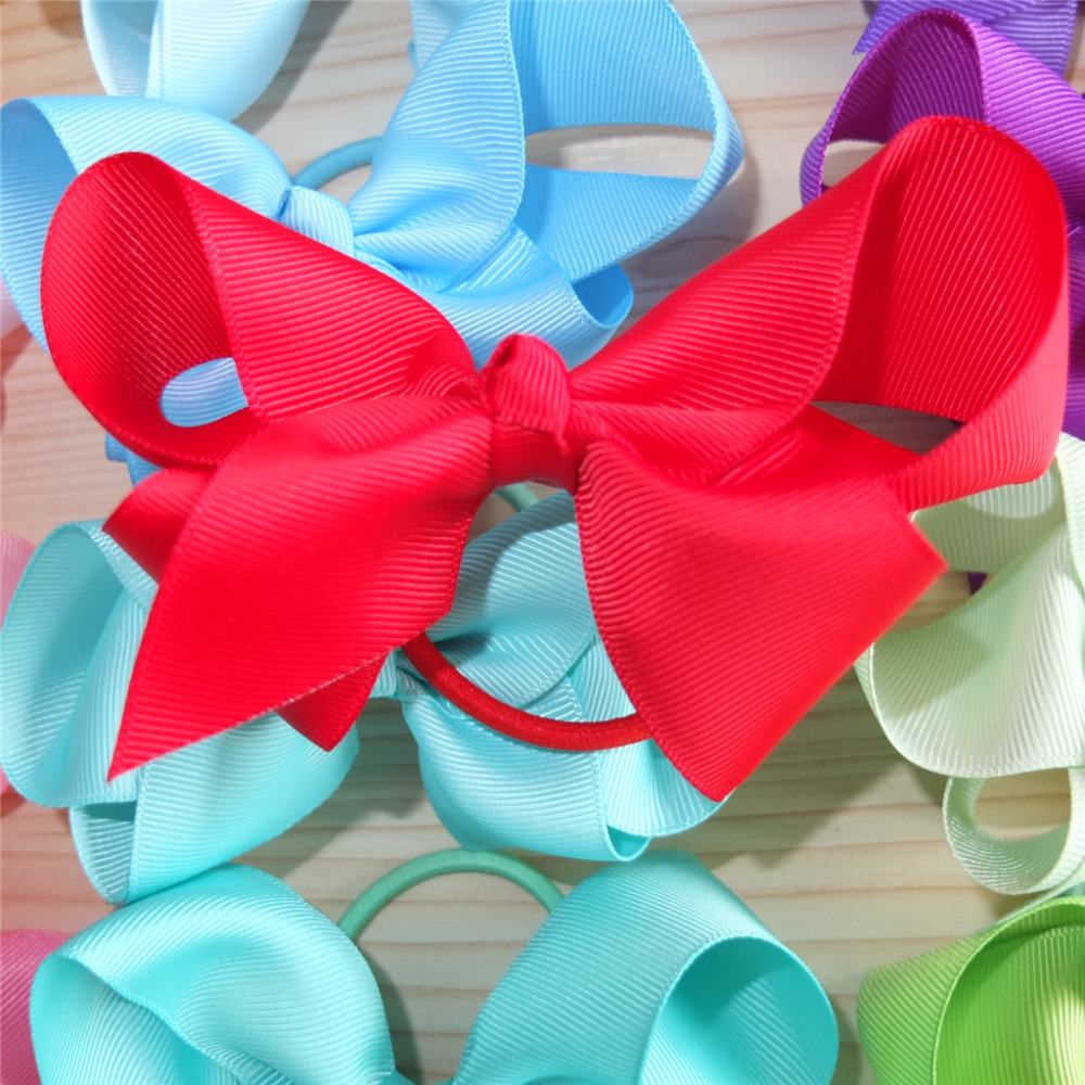 Hair Accessories Loop -  4 inch hair bow with color elastic bands ponytail hair holder bows hair accessories elastic loop