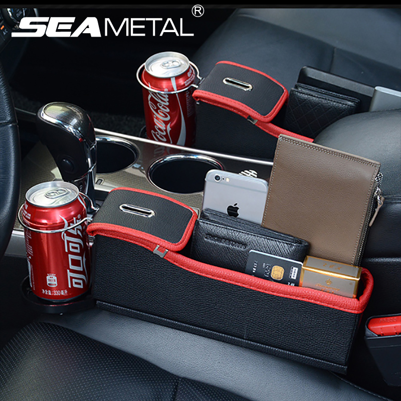 Car Seat Crevice Storage Box Cup Drink Holder Organizer Auto Gap Pocket Stowing Tidying For Phone Pad Card Coin Case Accessories 1 pc car trunk organizer box folding storage bag oxford cloth car organiser for auto accessories stowing tidying collapsible bag