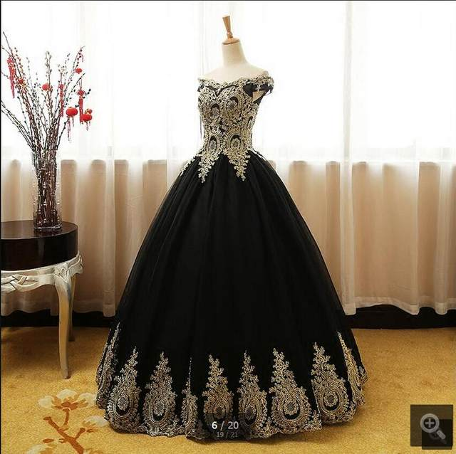 Online Shop Robe De Soiree black ball gown gold lace prom dresses ...