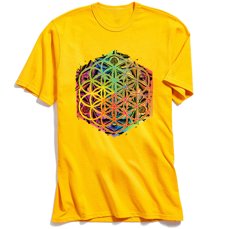 Printed Gift Summer Autumn All Cotton O Neck Men's Tops & Tees Design Tee-Shirts Fashion Short Sleeve T Shirts Sacred Geometry Flower of Life Mandala Color 1 yellow