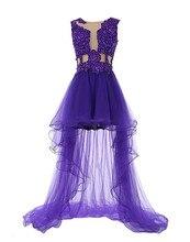 High Low Abendkleid 2017 Vestidos De Gala Curto Sexy See-Through Lila Homecoming Cocktail Kleider