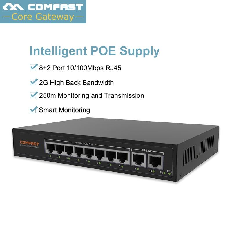 8 Порты и разъёмы POE коммутатор Ethernet 10/100 Мбит/с 120 Вт адаптер питания для сетевых камер IP/беспроводной wi Fi покрытие/телефонной конференции