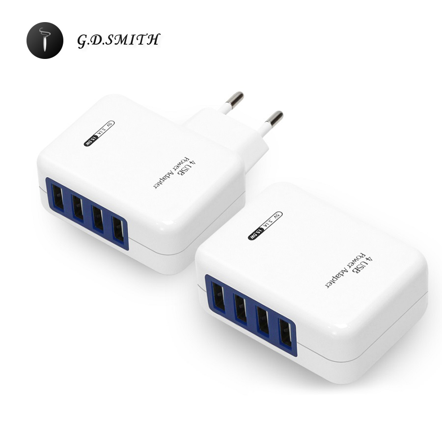 G.D.SMITH 4 Ports USB Charger For iPhone 7 7 Plus iPad Xiaomi Samsung Huawei Sma
