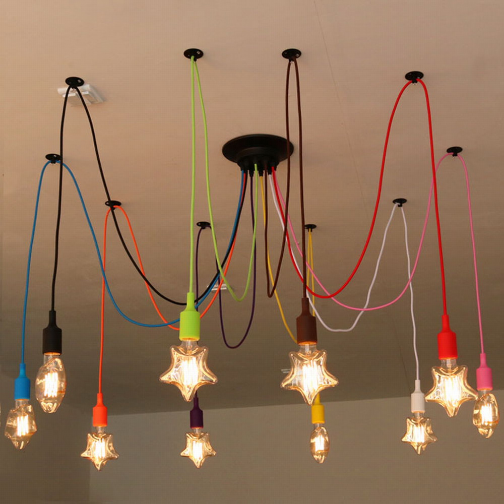 Diy colourful spider chandelier lamp lights led retro for Diy led chandelier