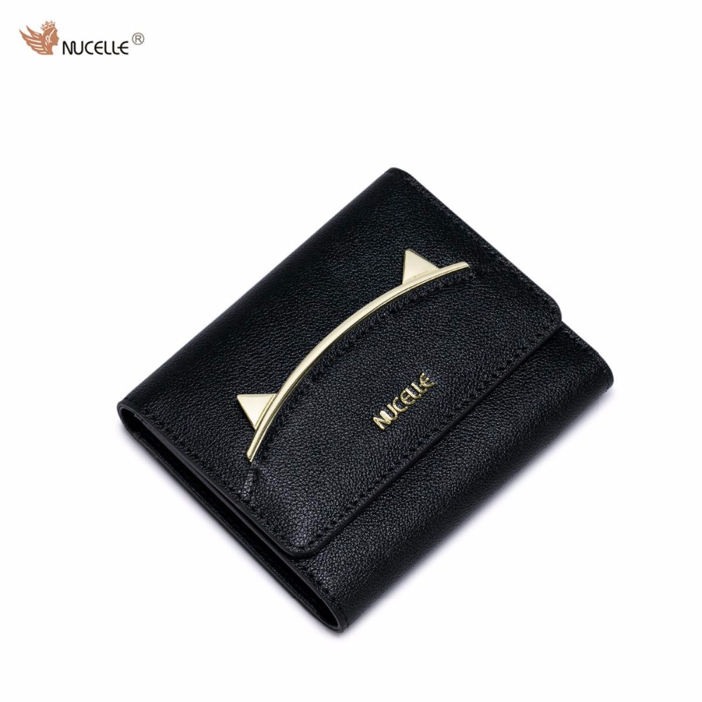 NUCELLE Brand New Design Fashion Sweet Cute Lady Cat Ears Cow Leather Women Short Wallets Cards Holder For Girls nucelle brand new design french style threads cow leather women lady long wallets clutches cards phone holder