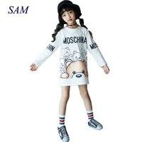 New Sutumn And Spring Big Girls Long Sweater Dress Children Casual Cartoon Bear Straight Dresses Child