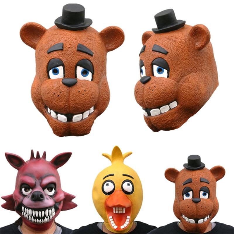High Quality Game Five Nights at Freddy's Freddy Teddy bear Cosplay Mask Horror Halloween Fancy Ball Latex Mask Cosplay Props