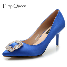 Hot Brand 2017 Spring Women's Pumps Rhinestone Wedding Shoes Luxury Designer Satin Ladies Stiletto Thin Heels Pointed Toe talon