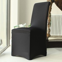 UK New Black Flat Fronted Spandex Chair Cover For Dining Wedding Banquet Anniversary Party Decoration Covering Many Occasions
