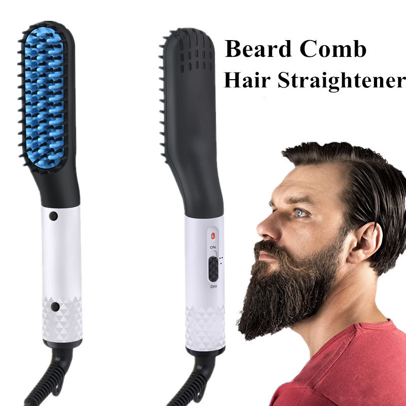 Quick Beard Hair Straightener Hairdressing Comb Straightening Brush Hair Curler Men Electric Multifunctional Hair Styler Brush