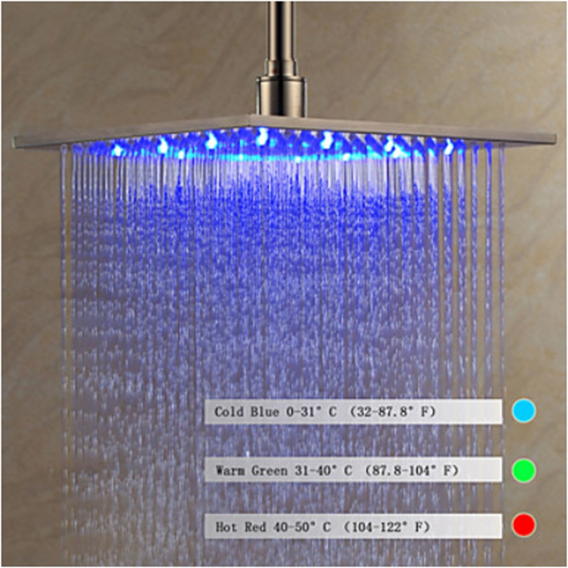 brushed nickel square rain shower head. Newly Arrival Brushed Nickel LED Color Changing Shower Head Sprayer  China Mainland Online Get Cheap Aliexpress com