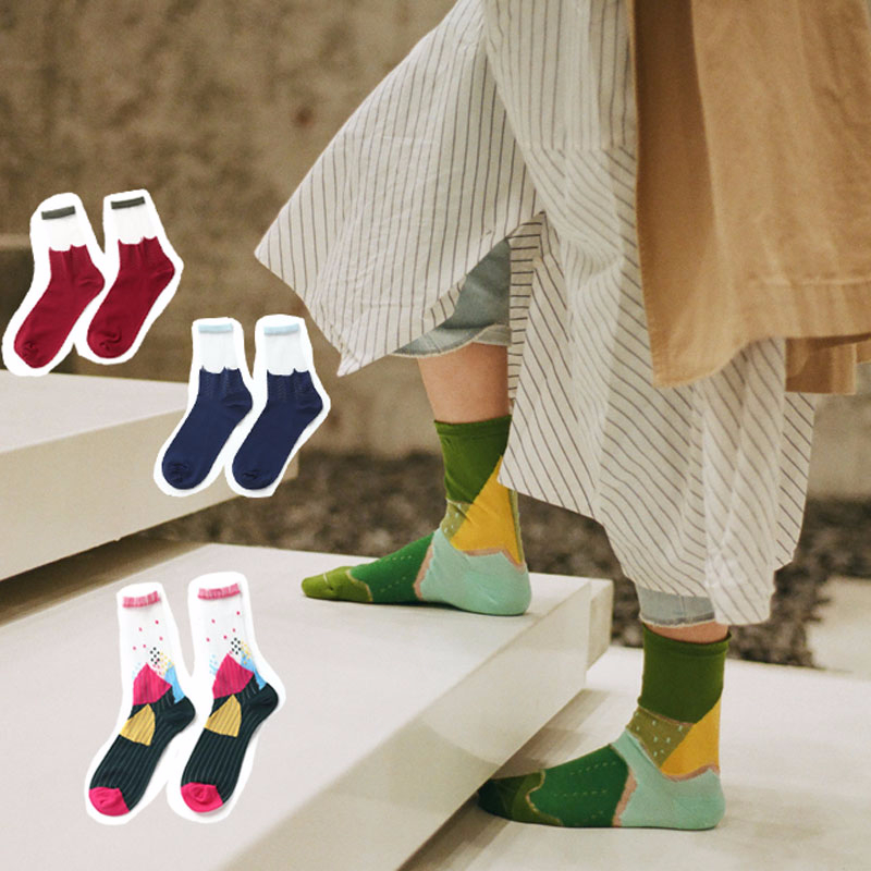 Sp&City 5pairs Colored Patchwork Patterned Woman Summer Socks Vintage Harajuku Cool Net Socks Thin Hollow Out Hipster Socks