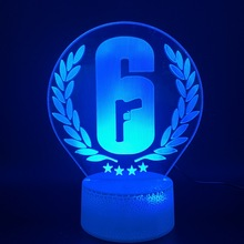 Home Decoration Rainbow Six Siege Night Lamp LED Touch Sensor Color Changing Child Kids Gift Game Table Light 6