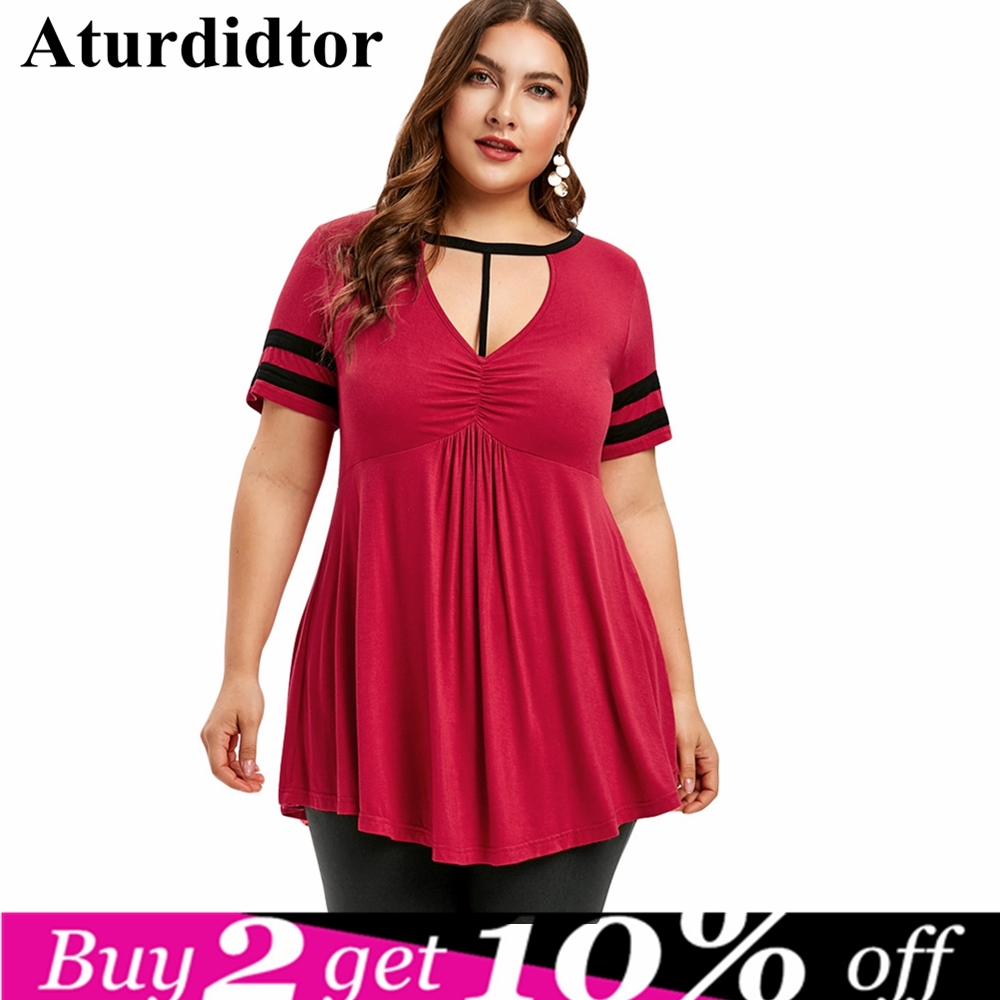 Plus Size Women T-Shirts Keyhole Neck Empire High Waist Low Marled T-shirt V-Neck Short Flare Sleeve Summer Tops Casual Tees 5XL