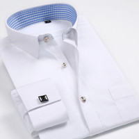 2017 Men's Luxury French Cuff Solid Color Dress   Shirts   New Patchwork Plaid Neck Long Sleeve Classic-fit Formal   Shirt   M569