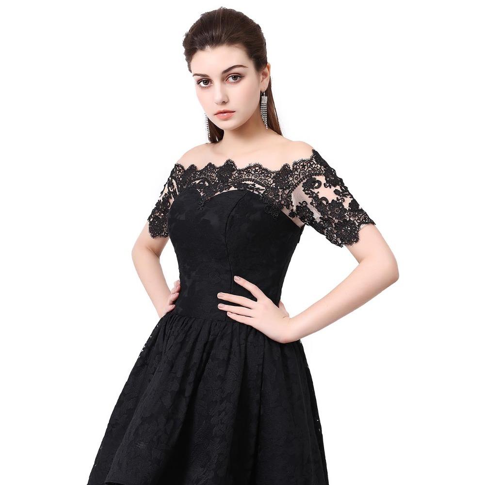 07740c035c818 Hi Low Prom Dress Off The Shoulder Beautiful Dresses for teens Plus size  Black Lace Prom Dresses Party Gown Robe De Soiree