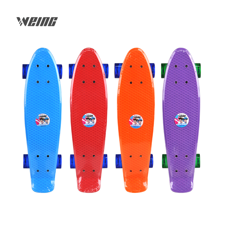 WEING imported new steel pipe bracket blue powder orange green four color transparent flash fish shaped skateboarWEING imported new steel pipe bracket blue powder orange green four color transparent flash fish shaped skateboar