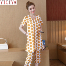 Yellow 2 piece polka dot set women top and pants suits plus size large xxxl 4xl 5xl co-ord set outfit tracksuit 2019 summer все цены