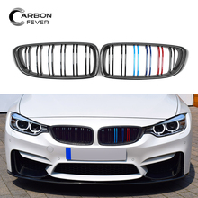F32 F33 F36 F80 F82 F83 ABS + Carbon Fiber Racing Grille For BMW 4 Series M3 M4 Front Grill Gloss Black M Color 2-Slat Grills