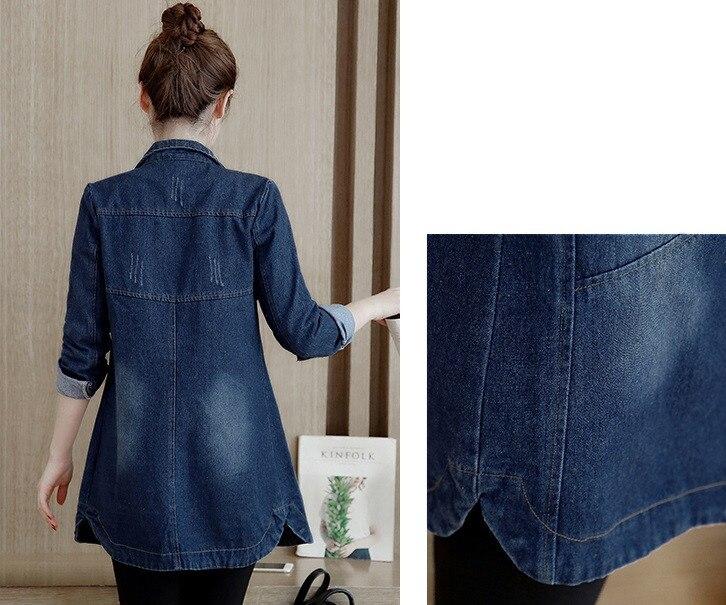 HTB16PazpeuSBuNjy1Xcq6AYjFXaI Autumn Winter Korean Denim Jacket Women Slim Long Base Coat Women's Frayed Navy Blue Plus size Jeans Jackets Coats Cool 5XL A364