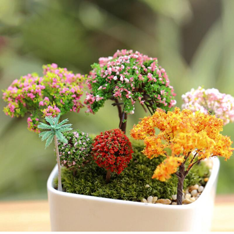 1Pc Miniature Sakura Tree Plants Fairy Garden Dollhouse Ornament Decor