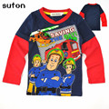 New 2017 Fireman Sam Baby Boys Long Sleeve Round Collar Spring And Autumn Cotton Long Sleeve T Shirt Kids Children Clothes