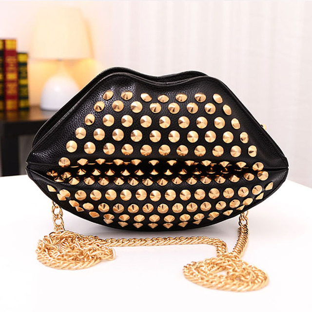 2016 Women Red Lips Clutch Bag High Quality Ladies Acrylic Chain Shoulder Bag Bolsa Evening Bag Lips Shape Purse Free Shipping
