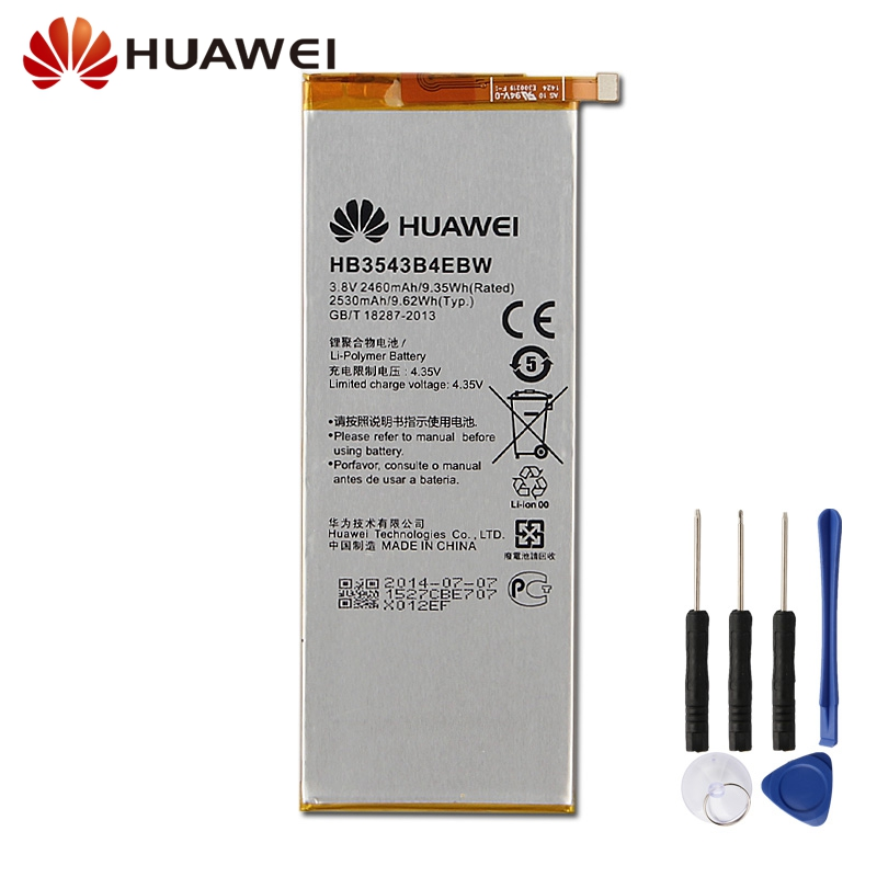 Original Replacement Battery HB3543B4EBW For <font><b>Huawei</b></font> Ascend <font><b>P7</b></font> <font><b>L07</b></font> L09 L00 L11 L10 L05 Authentic Phone Battery 2530mAh image