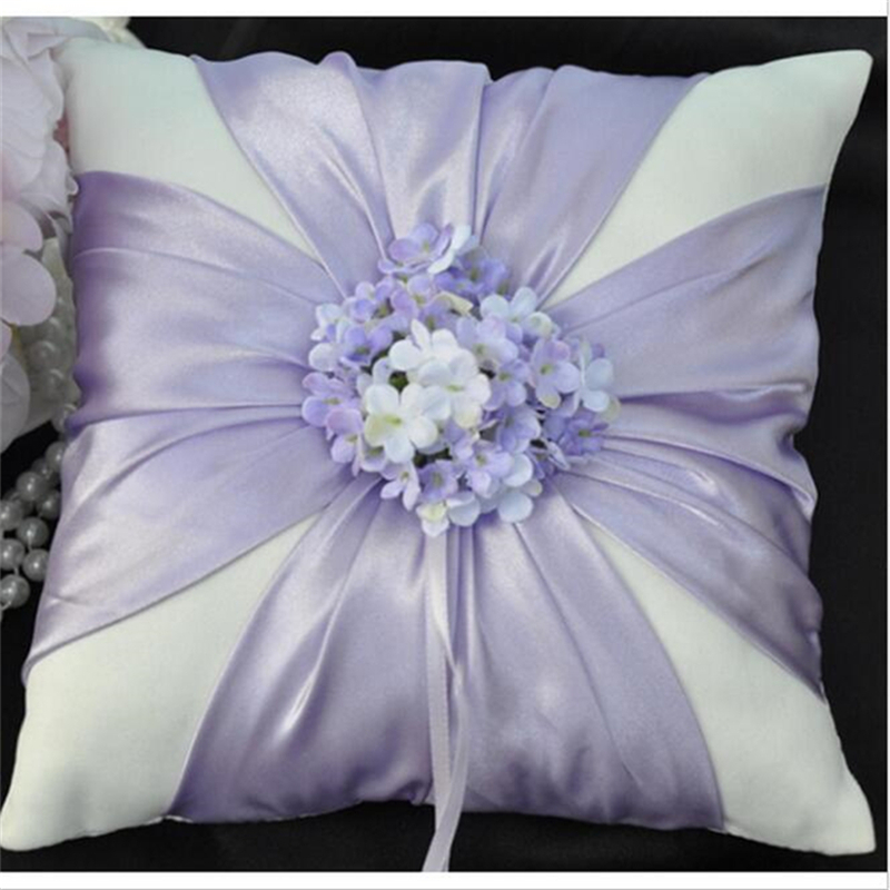 Free Shipping Casamento Purple Flower Wedding Ring Pillow ...