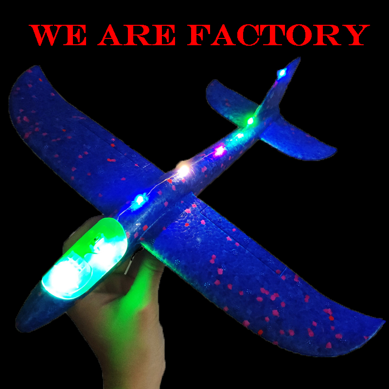 48cm DIY Kids Toys Hand Throw Flying Glider Planes Foam Aeroplane Model Party Glow In The Dark Flying Glider Plane Toys For Kid