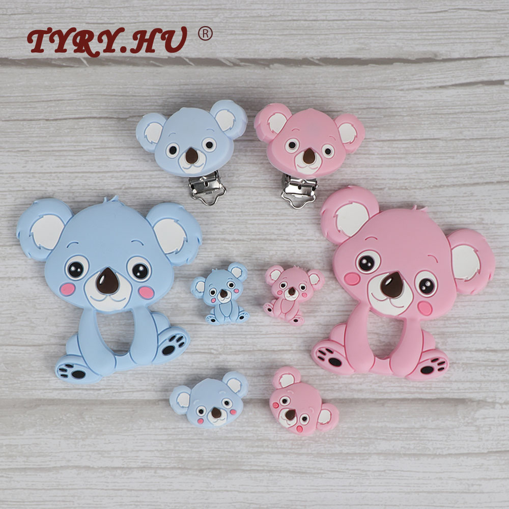 TYRY.HU 1Pc/3pc Koala Silicone Beads Food Grade Baby Silicone Teethers Teething Necklace Rodents DIY Pacifier Clip Baby Products