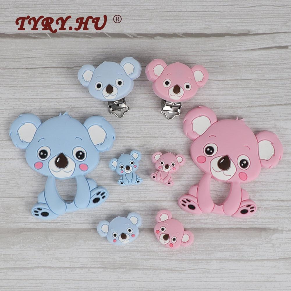 TYRY.HU4Pc/Iot Koala силиконовые бусины, Детские Силиконовые Прорезыватели для зубов, ожерелье для грызунов, «сделай сам», зажимы для соски