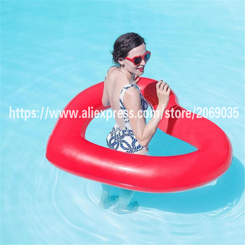 120cm red heart shape women swimming ring super large pool for Swimming pool 120 cm tief