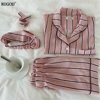 RUGOD 2018 Fashion Summer Women Pajamas Turn Down Collar Sleepwear Pajama Set Shirt Shorts Striped Casual