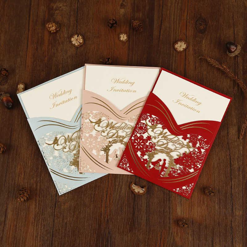 1pcs 3 Colors Laser Cut Bride And Groom Wedding Invitations Card