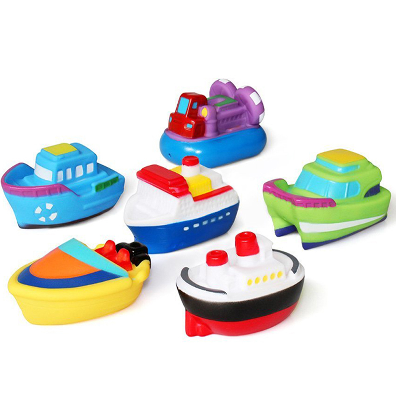 6pcs/pack Bath Toy Swimming Pool Baby Kids Water Spray Colorful Boat Soft Rubber Toys For Boys Girls Safe Material
