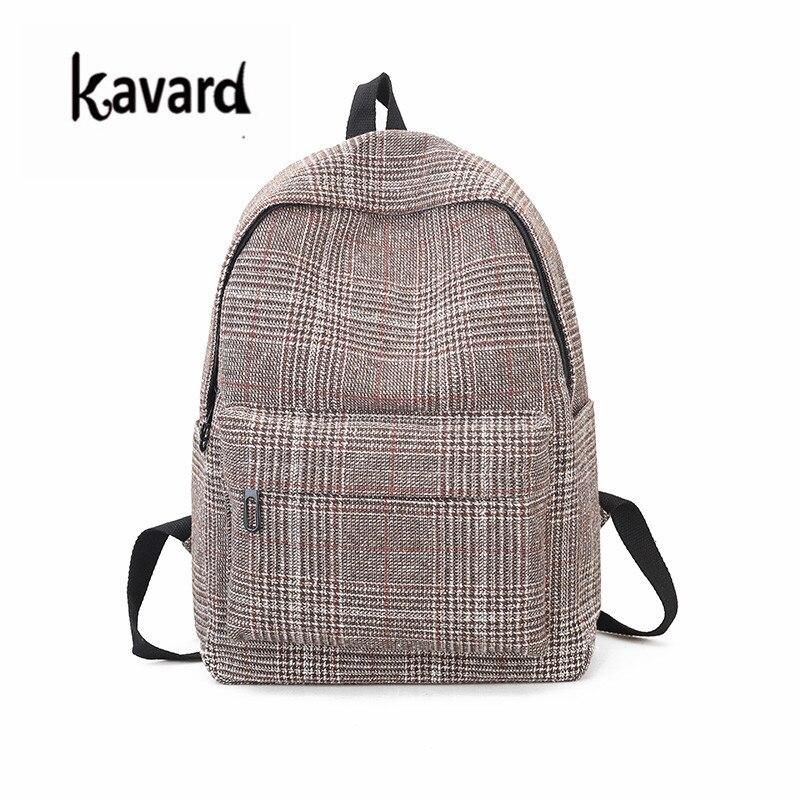Plaid Wool Canvas Backpacks Teenager Girls School Bags Big Backpacks For College Students Mochila Feminina