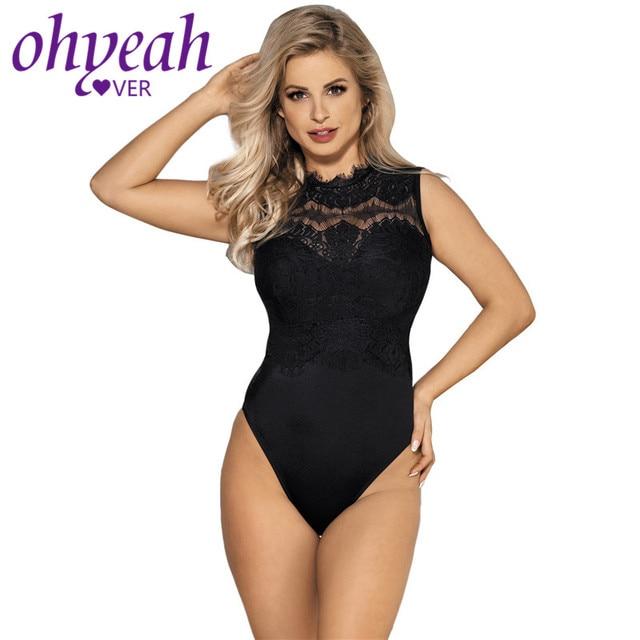 5d9c983f63 Ohyeahlover Sexy Lace Bodysuit Turtleneck Rompers Womens Jumpsuit Skinny  Club Playsuit Black Plus Size Body Femme Teddy RM80472