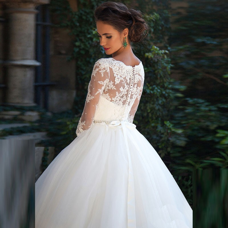 Vestido De Noiva De Renda Three Quarter Sleeves Princess Wedding Dress With Crystal Belt 2017 Vintage Ball Gown Wedding Gowns 4