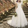 Белый Старинные Кружева Аппликации Свадебные Платья 2016 Cap Рукава Милая Романтические Свадебные Платья свадебные платья мантия de брак