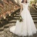 Branco Vintage Lace Apliques Vestidos de Casamento 2016 Mangas Querida Vestidos de Casamento Romântico abiti da sposa robe de casamento