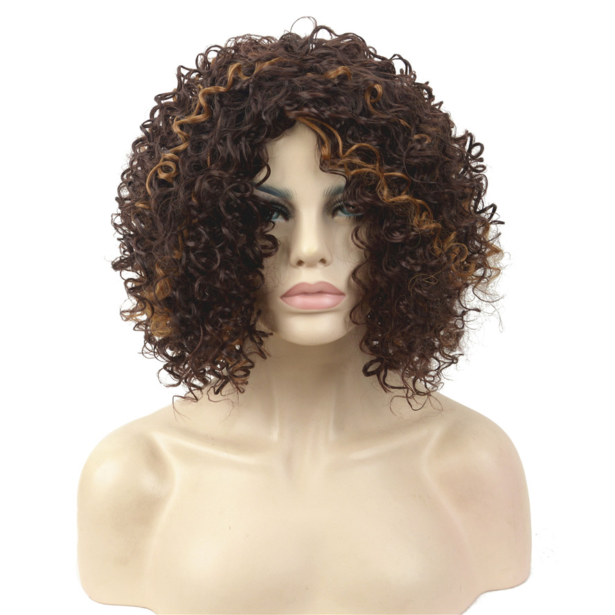 StrongBeauty Women s Wigs Synthesis Medium Length Kinky Curly Hair Black Blonde Full Wig