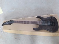 Free Shipping Wholesale 7 String Electric Guitar gray pearl black finished body top with quilt AAA flame 15 12