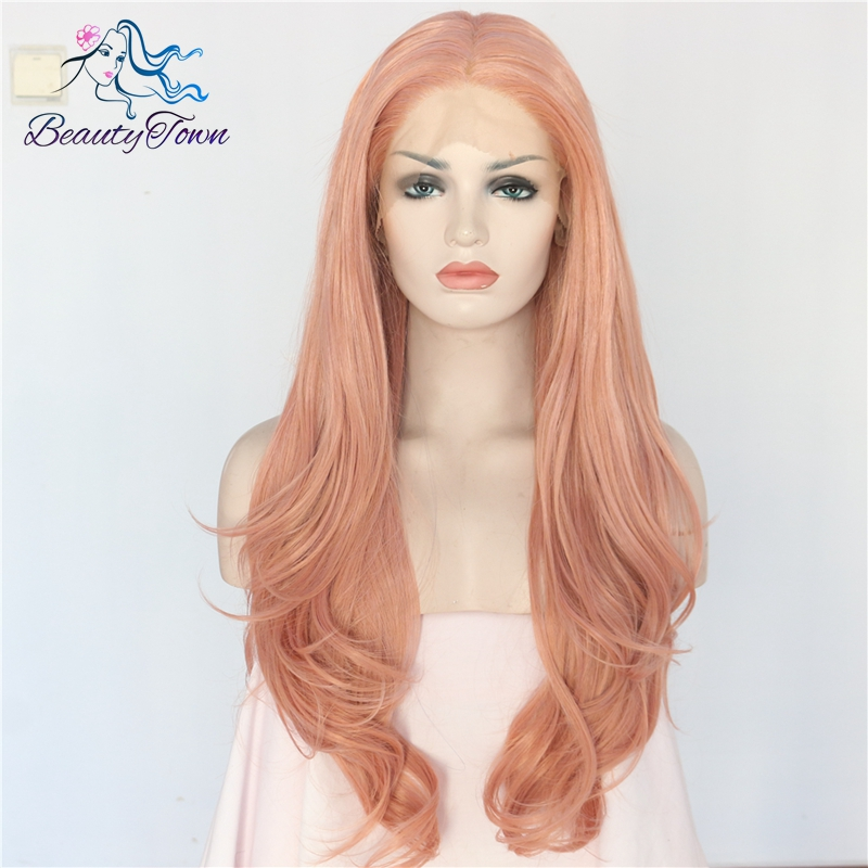 BeautyTown High Temperature Hair Peach Pink Color Wavy Style Glueless Heat Resistant Daily Makeup Synthetic Soft