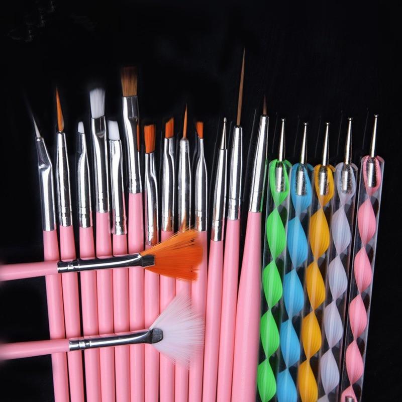 Glow 20 Piece Nail Art Brushes And Nail Dotting Tools Set Red